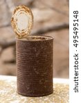 old rusty crumbled tin can | Shutterstock . vector #495495148