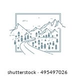 curved road  in mountain range... | Shutterstock .eps vector #495497026
