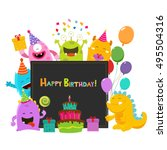 cute monsters birthday card | Shutterstock .eps vector #495504316