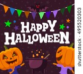 halloween party background. man ...   Shutterstock .eps vector #495520303