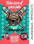 color vintage veterinarian...   Shutterstock .eps vector #495521173