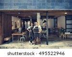 couple barista coffee shop... | Shutterstock . vector #495522946
