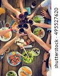 group of people dining concept | Shutterstock . vector #495527620