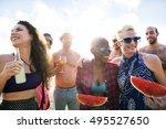 diverse young people fun beach... | Shutterstock . vector #495527650