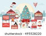 christmas market vector...   Shutterstock .eps vector #495528220