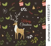 christmas seamless pattern with ... | Shutterstock .eps vector #495531973
