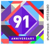 91th years greeting card... | Shutterstock .eps vector #495533680