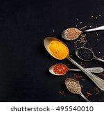 spices on black background | Shutterstock . vector #495540010
