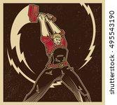 vintage propaganda poster and... | Shutterstock .eps vector #495543190