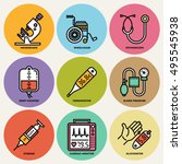 medical devices round icon set. ... | Shutterstock .eps vector #495545938