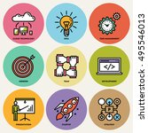 modern startup business round... | Shutterstock .eps vector #495546013