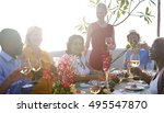 group of people dining concept | Shutterstock . vector #495547870