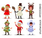 set of happy children dressed... | Shutterstock .eps vector #495553843