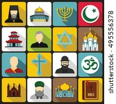 religious symbol icons set in... | Shutterstock .eps vector #495556378