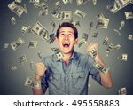 happy young man screaming super ... | Shutterstock . vector #495558883