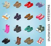 isometric shoe set icons....