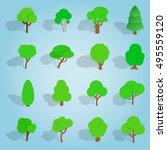 isometric tree icons set....