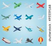 isometric aviation icons set....