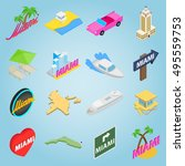 isometric miami icons set....