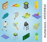 isometric tennis icons set....