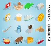 isometric switzerland icons set....