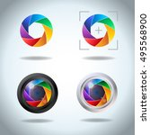 colorful vector set of lens... | Shutterstock .eps vector #495568900