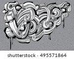 Black And White Graffiti Curls...