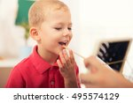 little boy during lesson with... | Shutterstock . vector #495574129