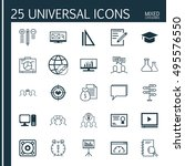 set of 25 universal icons on... | Shutterstock .eps vector #495576550