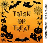 halloween background. trick or... | Shutterstock .eps vector #495576880