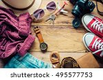 travel clothing accessories... | Shutterstock . vector #495577753