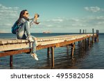 happy stylish woman hipster... | Shutterstock . vector #495582058