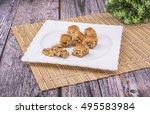 arabic desserts with walnut... | Shutterstock . vector #495583984