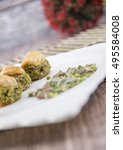 arabic desserts  with nuts... | Shutterstock . vector #495584008