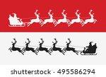 santa claus rides in sleigh... | Shutterstock .eps vector #495586294
