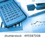 calculator  and pen on the... | Shutterstock . vector #495587038