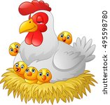 cute cartoon hen with chickens... | Shutterstock .eps vector #495598780