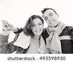 black and white portrait of... | Shutterstock . vector #495598930