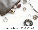 over head flat lay marble make... | Shutterstock . vector #495599764