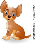 cartoon young dog sitting | Shutterstock . vector #495607954