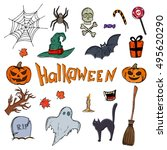 set of halloween icons. vector... | Shutterstock .eps vector #495620290