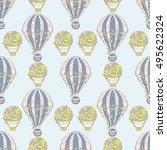 hand drawn seamless air balloon ... | Shutterstock .eps vector #495622324