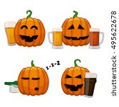 set of drunk pumpkins. happy... | Shutterstock .eps vector #495622678