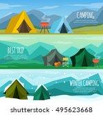 camping in winter  autumn ... | Shutterstock .eps vector #495623668