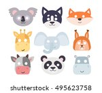 animals carnival mask vector... | Shutterstock .eps vector #495623758