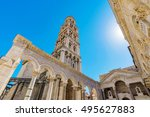 diocletian's palace on a sunny... | Shutterstock . vector #495627883