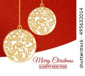 illustration. gold christmas... | Shutterstock . vector #495632014