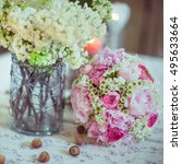 Pink Wedding Bouquet Lies On...