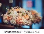 white wedding bouquet in the... | Shutterstock . vector #495633718