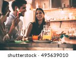 dinnier with friends. cheerful... | Shutterstock . vector #495639010